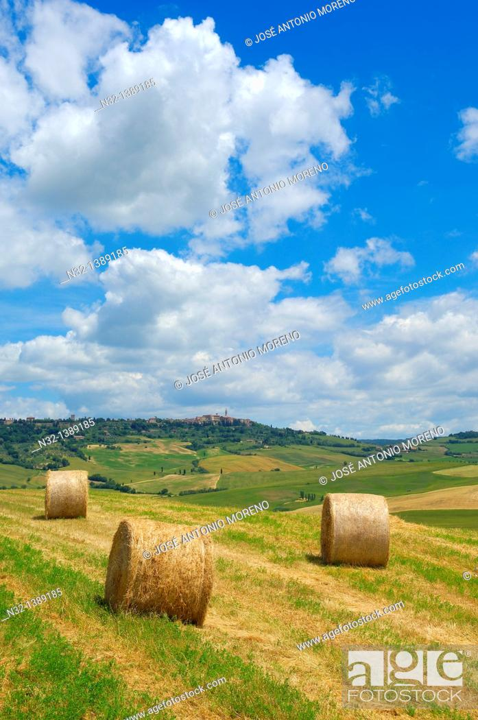 Stock Photo: Val d'Orcia, Orcia Valley, Fields with straw bales, Pienza, Siena Province, Tuscany, Italy.