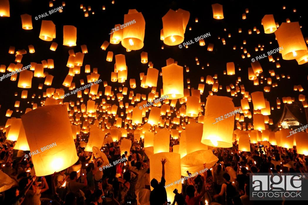 Stock Photo: Yee Peng Sansai Floating Lantern Ceremony, part of the Loy Kratong celebrations in homage to Lord Buddha at Maejo, Chiang Mai, Thailand.