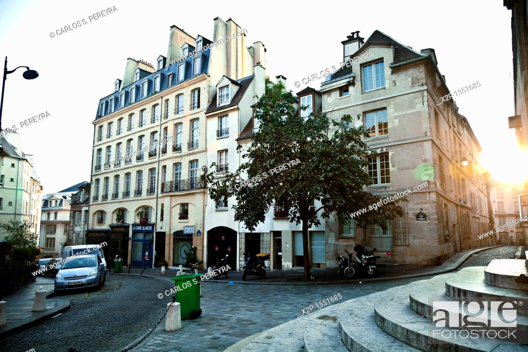 Stock Photo: Montagne St  Genevieve, the street where the actor of 'Midnight in Paris' Woody Allen each night go, Paris, France.