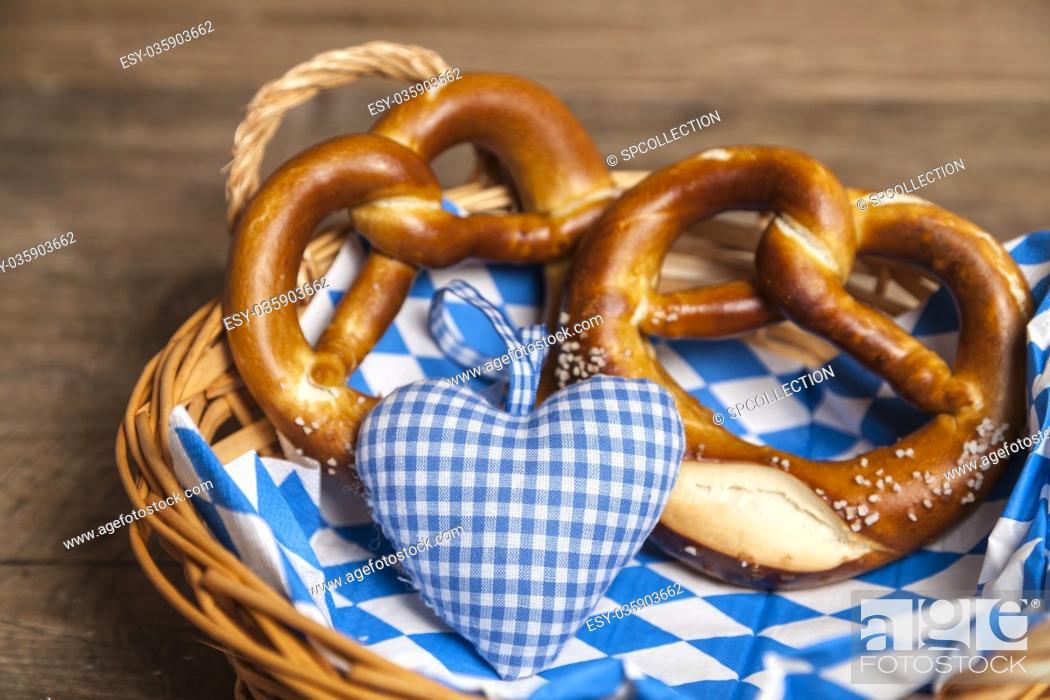 Stock Photo: Pretzel in bread basket for Oktoberfest.