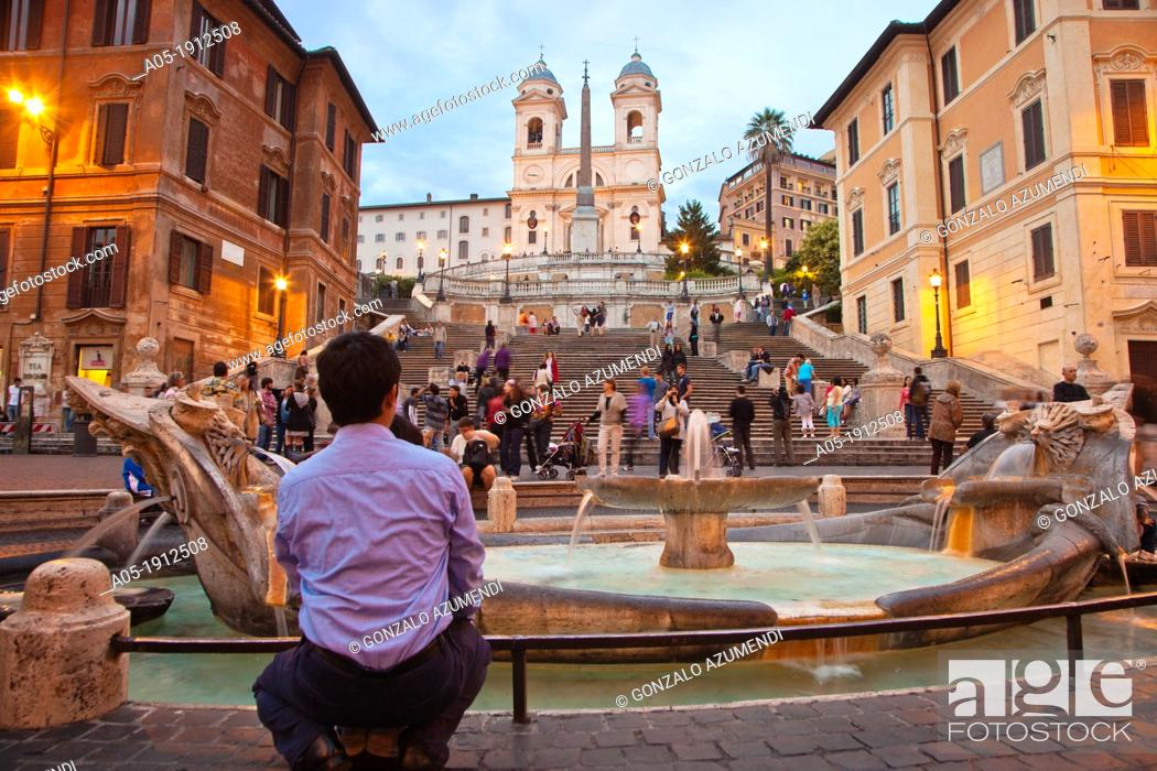 Stock Photo: Piazza di Spagna square, Trinita dei Monti church and the Spanish Steps, Rome, Lazio, Italy.