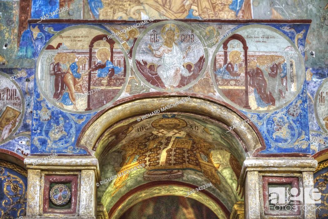Imagen: Frescoes, Gate Church of the Resurrection (1670), Kremlin, Rostov Veliky, Golden Ring, Yaroslavl Oblast, Russia.