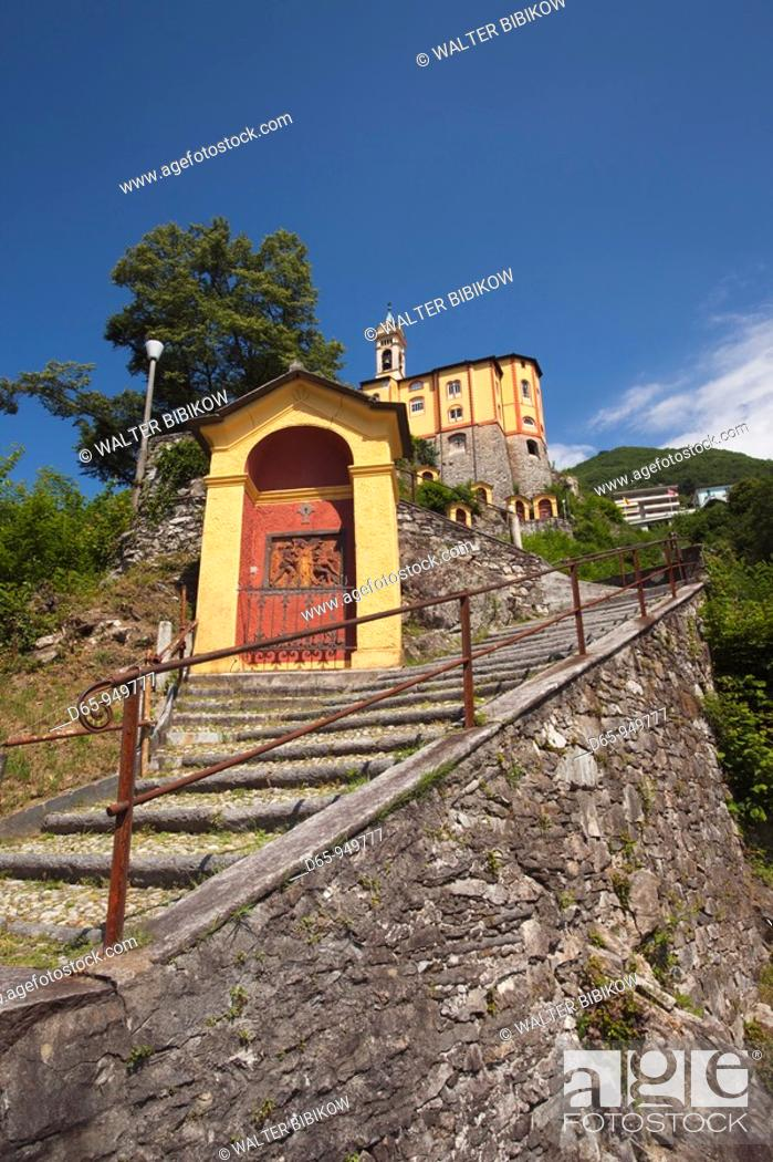 Stock Photo: Switzerland, Ticino, Lake Maggiore, Locarno, Madonna del Sasso church and Via Monti della Trinita steps.