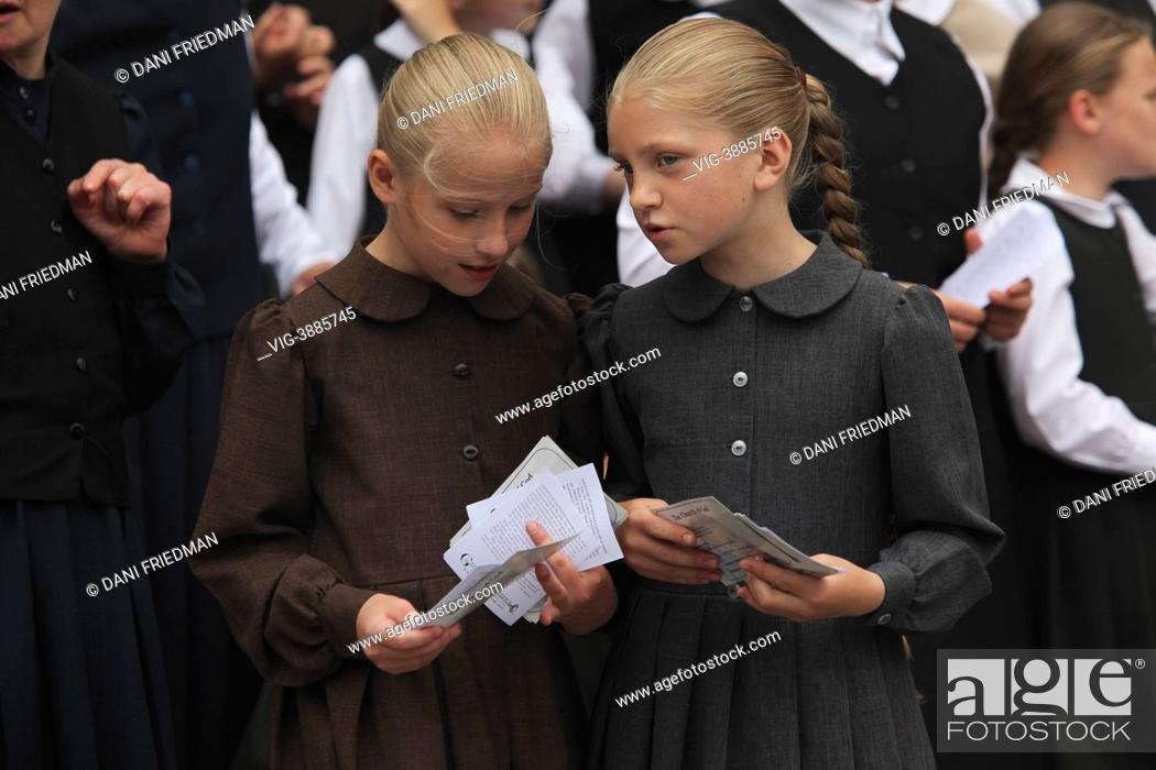 CANADA, TORONTO, Young Holdeman Mennonite girls from the Church of