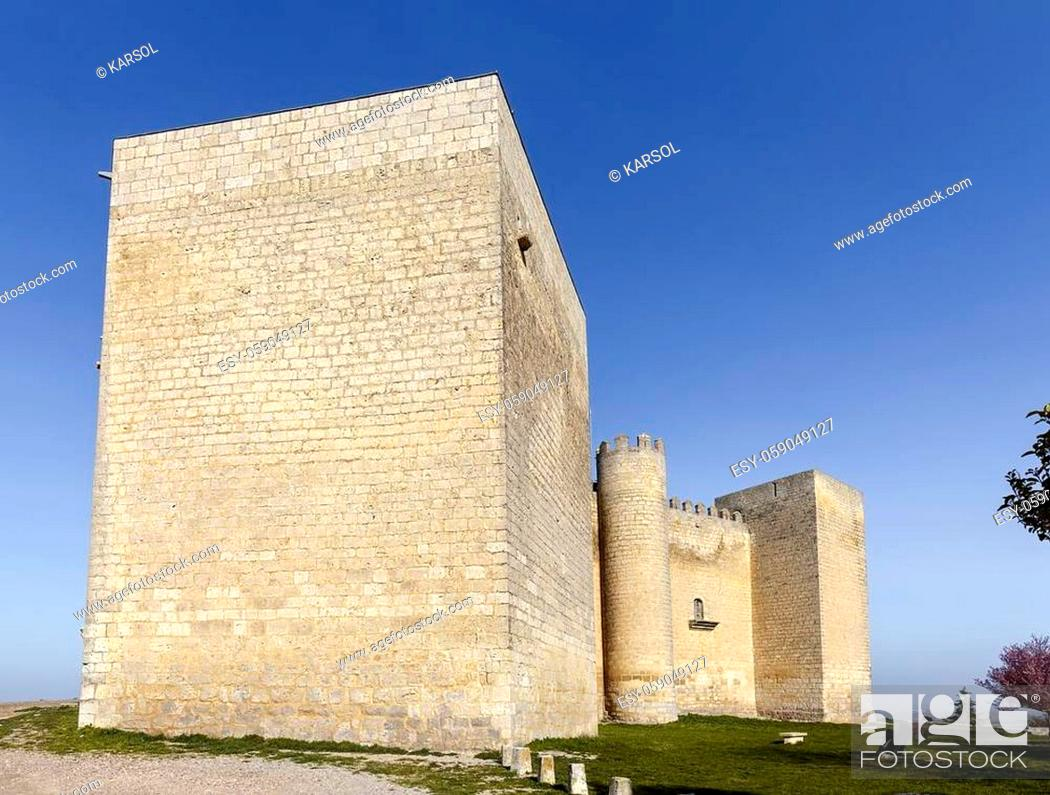 Stock Photo: Montealegre de Campos castle is located in Castilla y Leon, Spain, close to the city of Valladolid. It is a medieval castle still keeping its high defensive.