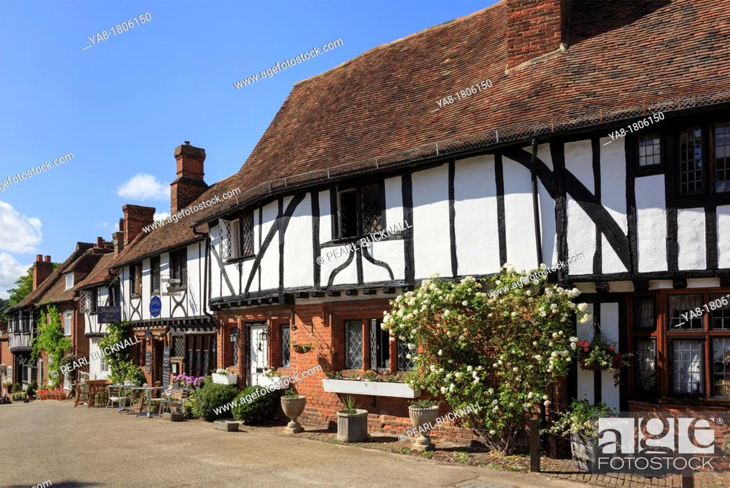 Stock Photo: Chilham, Kent, England, UK, Britain, Europe  Row of timber-framed houses in picturesque medieval Kentish village square.