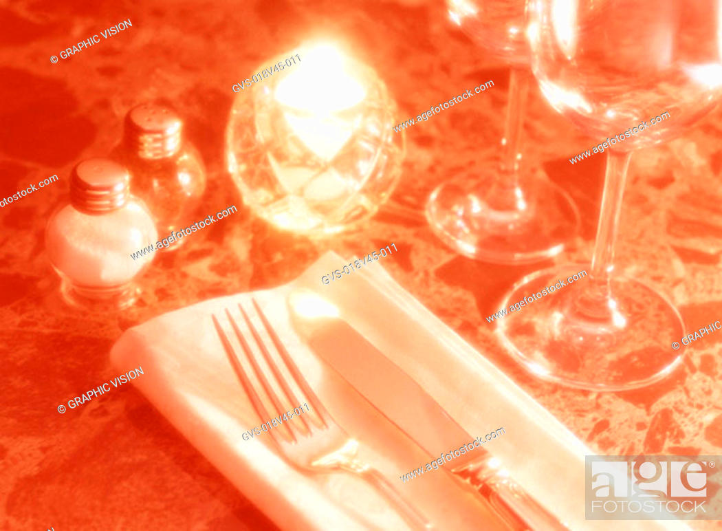 Stock Photo: Close Up of a Place Setting on Table.