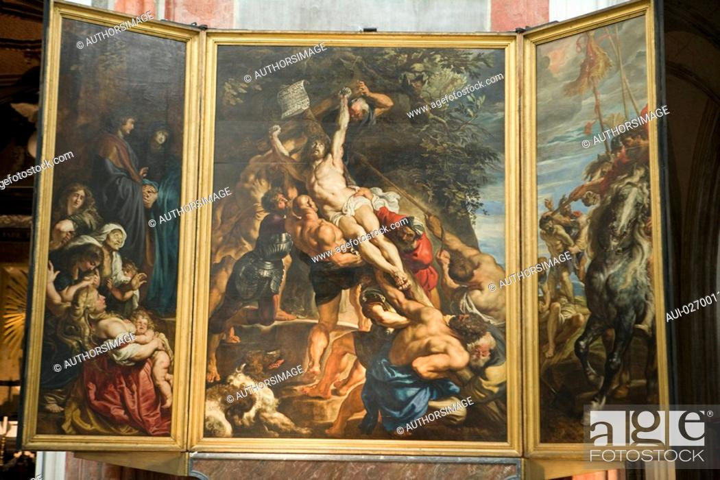 Stock Photo: Belgium - Flanders - Antwerp - Cathedral of Our Lady Onze-Lieve-Vrouwekathedraal - Triptych 'The Erection of the Cross' by Peter Paul Rubens'.