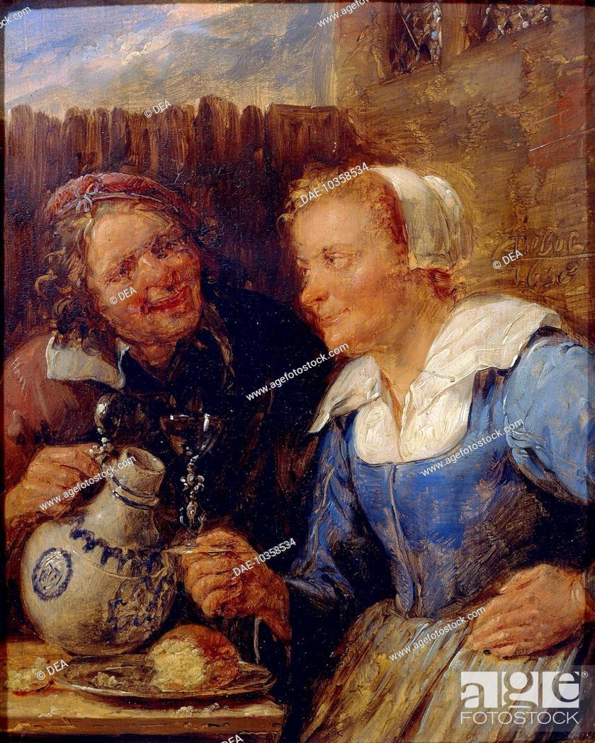 Stock Photo: Taste, by Gillis van Tilborgh the Younger (1625-1678).  Dijon, Musée Des Beaux-Arts (Picture Gallery).