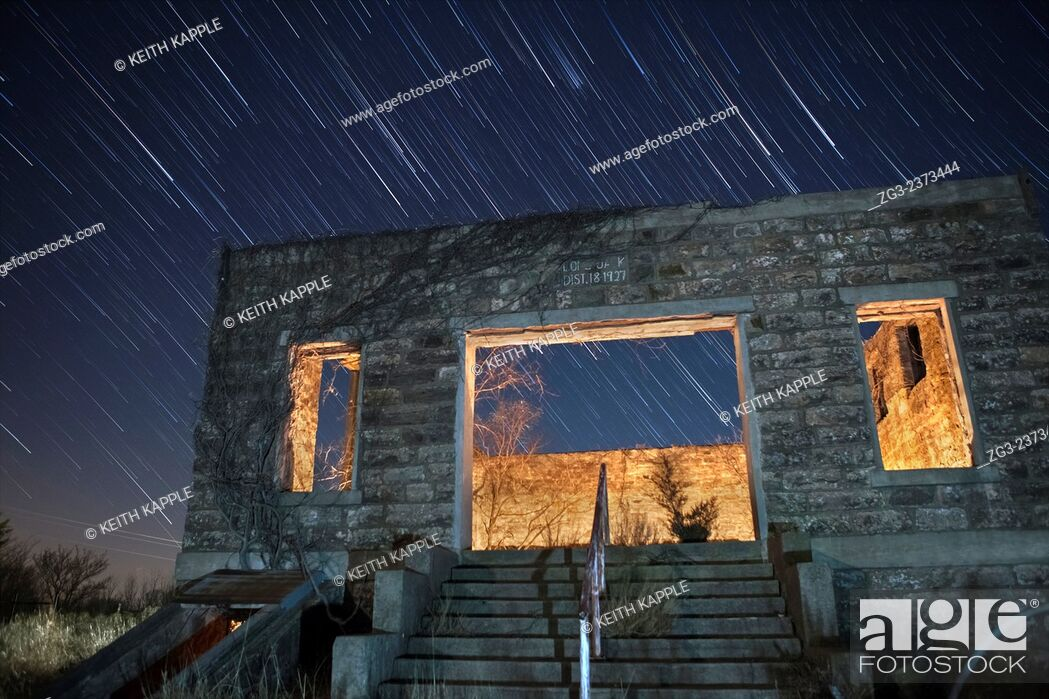 Stock Photo: Abandoned Scholl house under the Milky Way in Oklahoma.