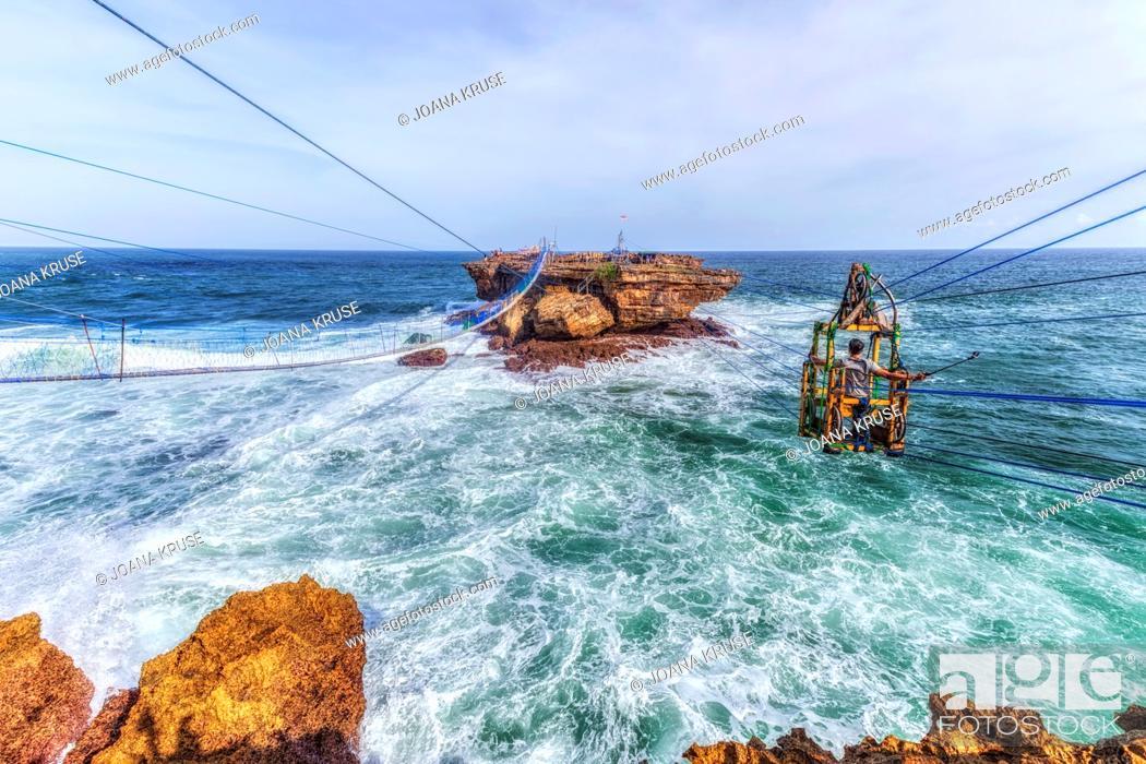 Stock Photo: cable car at Timang beach, Yogyakarta, Java, Indonesia, Asia.