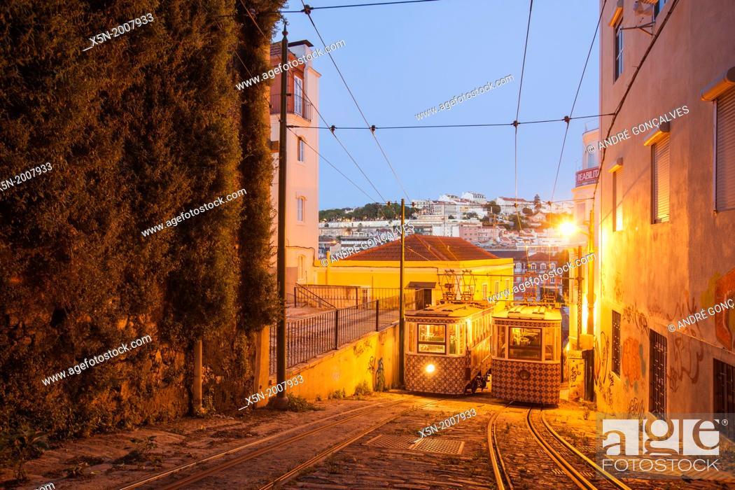 Stock Photo: The Lavra Funicular, Lisbon, Portugal, Europe.