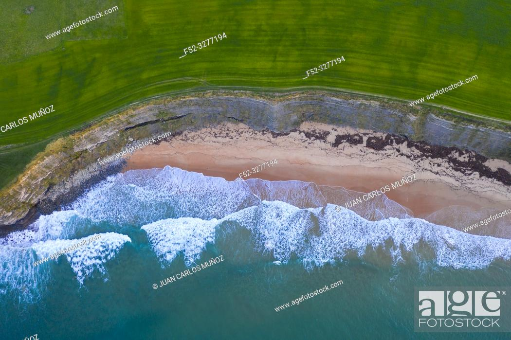 Stock Photo: Waves, Sand, Ocean, Langre beach, Ribamontan al Mar, Cantabrian Sea, Cantabria, Spain, Europe.