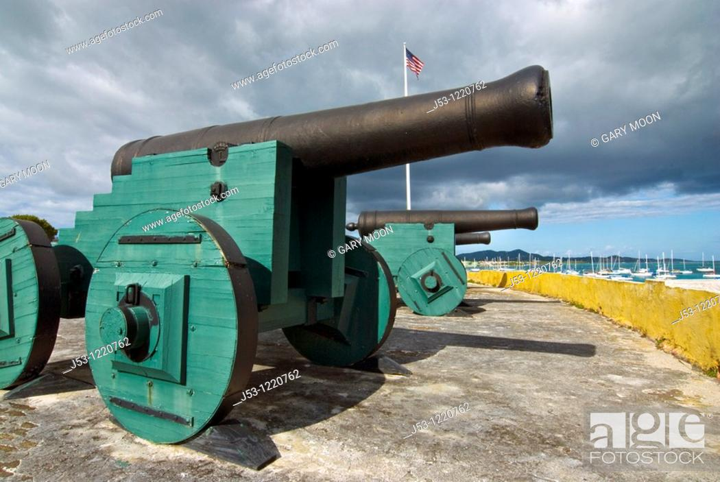 Stock Photo: Cannons, Fort Christiansvaern, Christiansted National Historic Site, St Croix, US Virgin Islands.