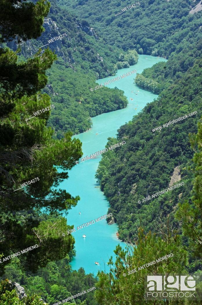 Stock Photo: Verdon Gorge river canyon, Verdon Regional Natural Park, Provence-Alpes-Cote-d'Azur, France.