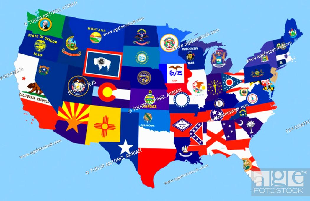 Imagen: united states of america country republics flag map.