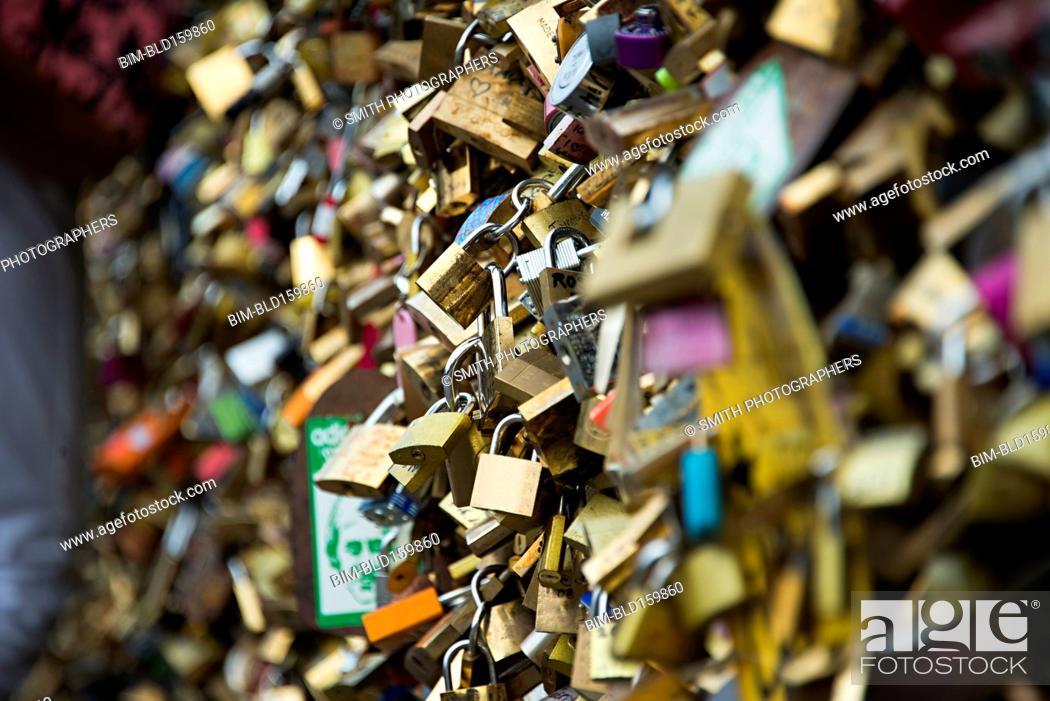Photo de stock: Close up of locks on fence, Paris, Ile-de-France, France.