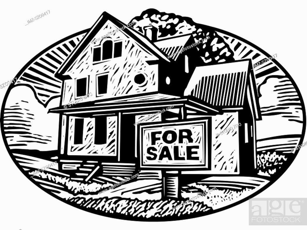 Stock Photo: Oval shaped picture of a house with a for sale sign in front, black and white.