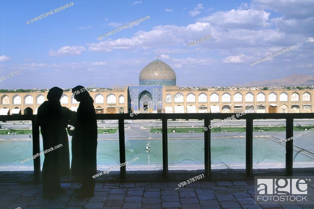 Stock Photo: Iran, Isfahan, Unesco World Heritage Site, Naqhsh-e Jahan Square (Imam square), At the terrace of Ali Qapu palace.