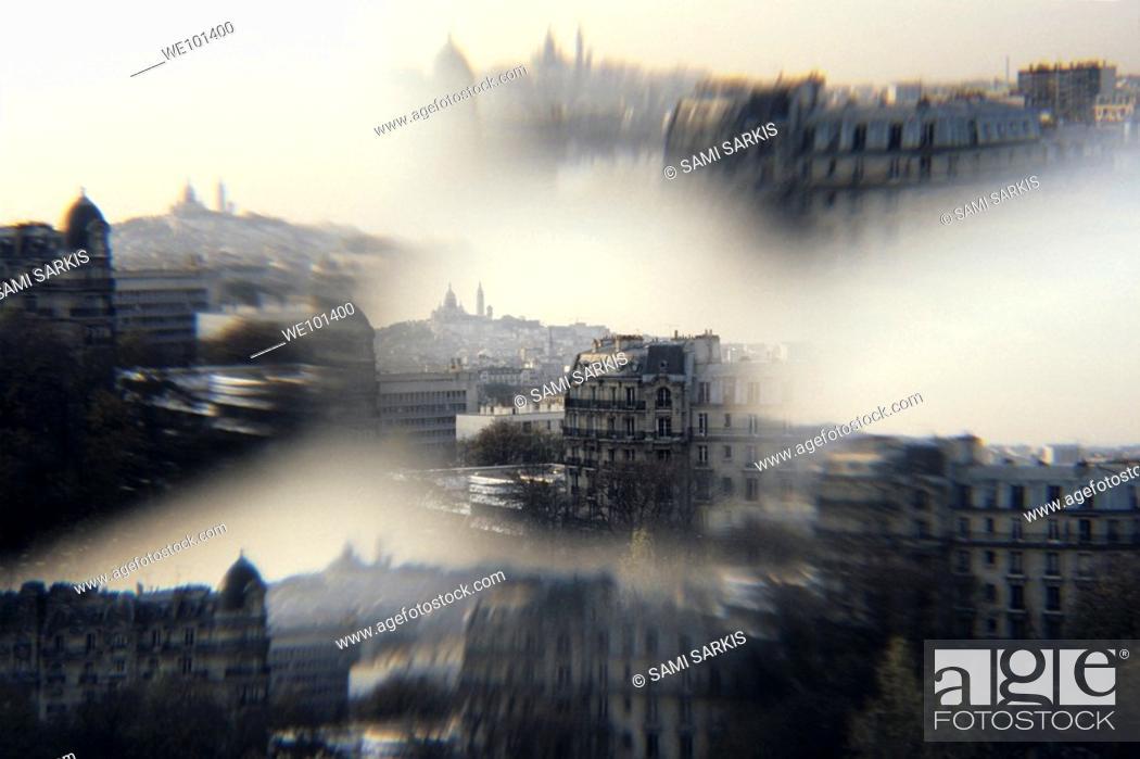Stock Photo: The Sacre-Coeur Basilica on Montmartre hill, Paris, France.