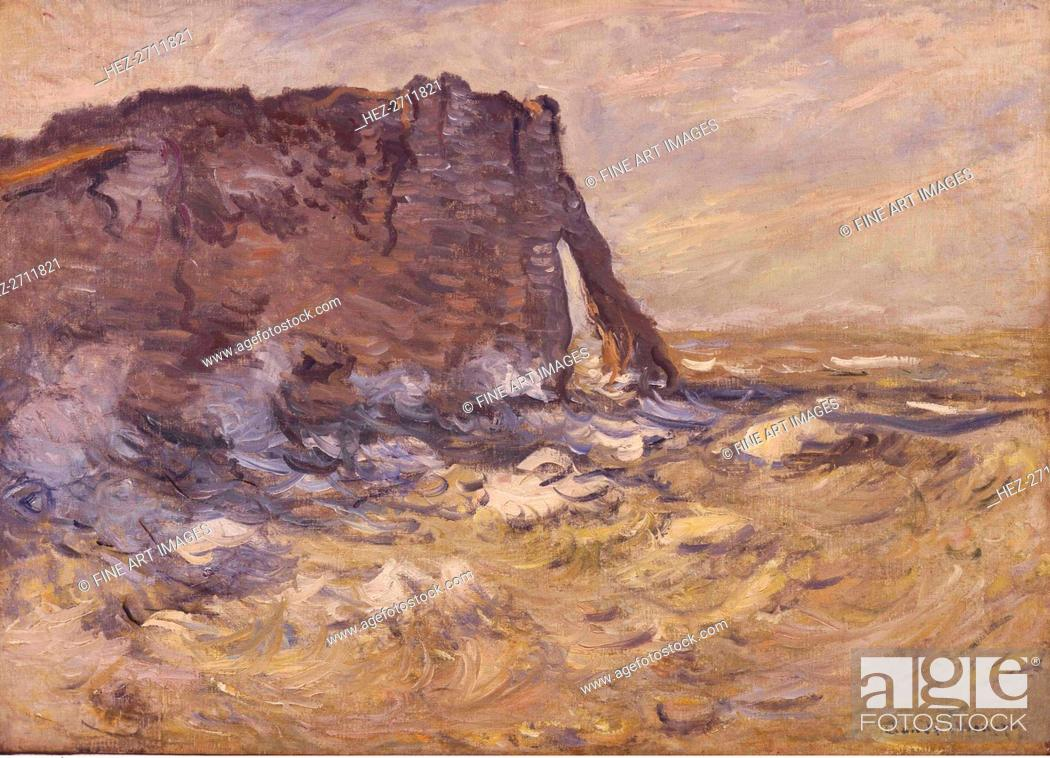 Stock Photo: Cliff and Porte d'Aval by Stormy Weather, 1883. Creator: Monet, Claude (1840-1926).