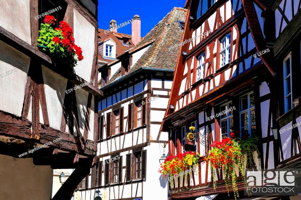 Stock Photo: Impressive multicolored houses of Strasbourg,France.