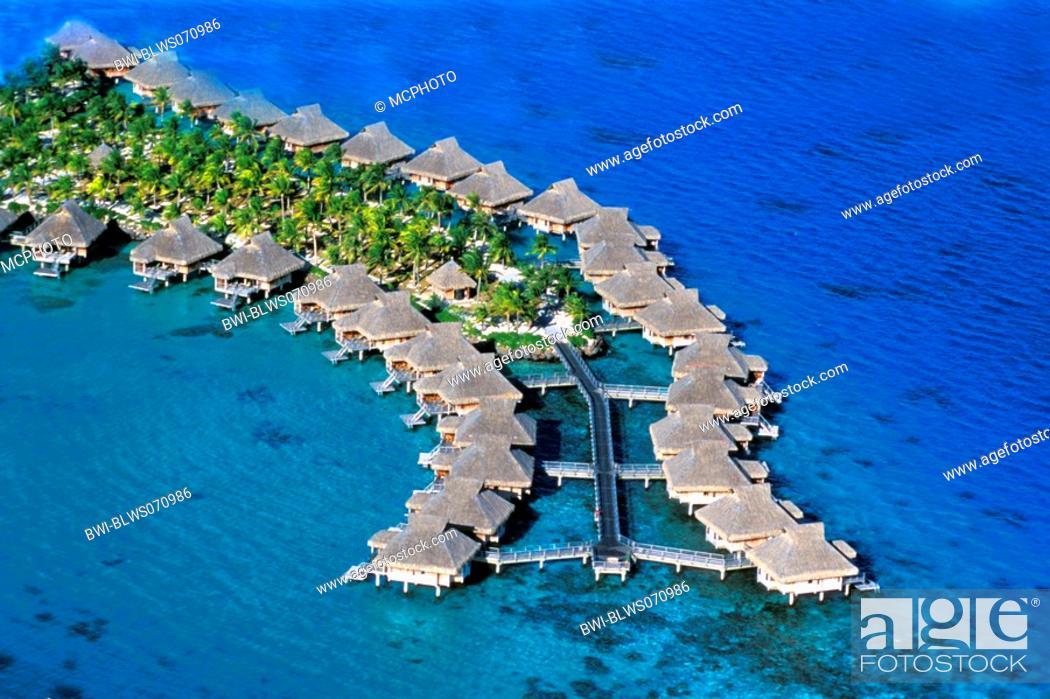 Stock Photo: aerial photo of holiday resort with water bungalows, French Polynesia, Bora Bora.