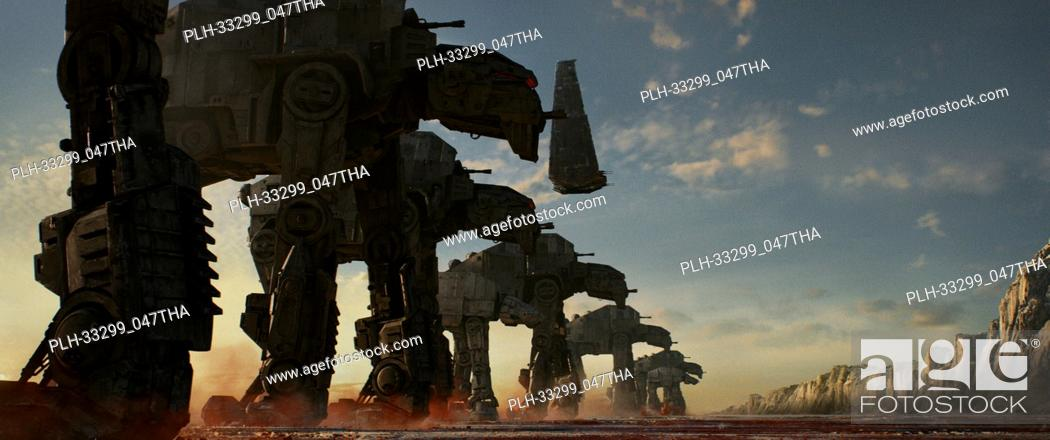 """Stock Photo: """"""""""""Star Wars: The Last Jedi"""""""" (2017) AT-M6 Walkers, along with Kylo's Shuttle Lucasfilm Ltd."""