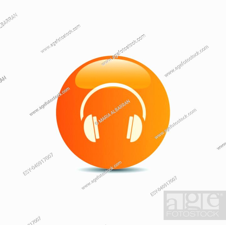Vector: Headphones icon on a orange button and white background.