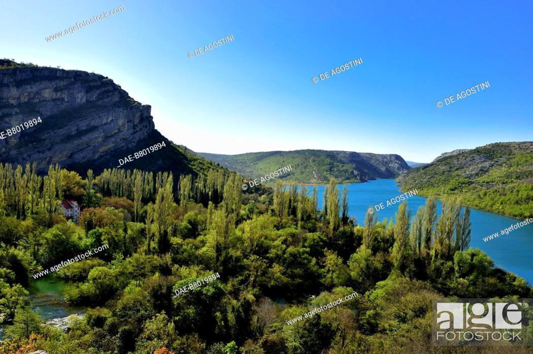 Stock Photo: Krka River near Roski Slap, Krka National Park, Croatia.