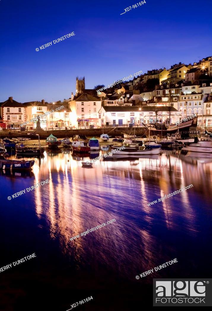 Stock Photo: England Devon Brixham Marina at night.