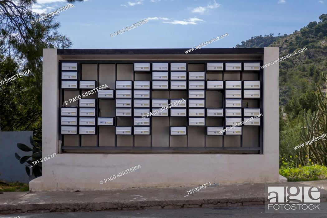Stock Photo: Mailboxes in a residential area. Sagunto, Valencia province, Valencian Community, Spain.