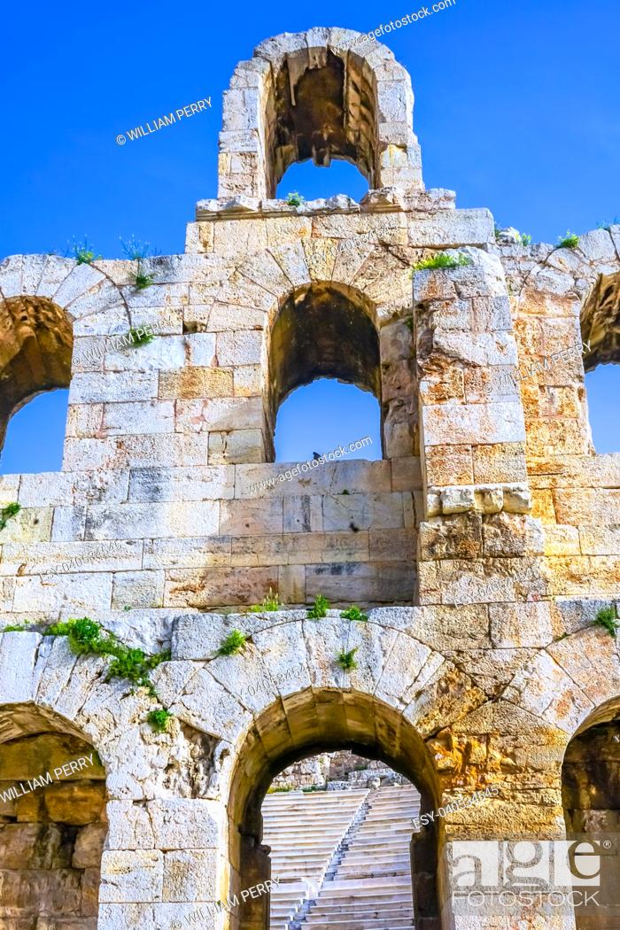 Stock Photo: Odeon of Herodes Attiacus Acropolis Athens Greece. Stone Theater base of Acropolis. Built 161 AD. Renovated 1950, used as concert stage today.