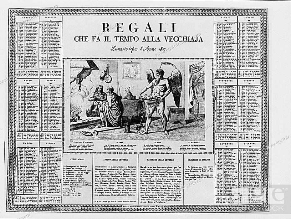 Imagen: Gifts Making Time to Old Age - Almanac (Regali che fa il tempo alla vecchiaja - lunario), 1827, 19th Century, etching.