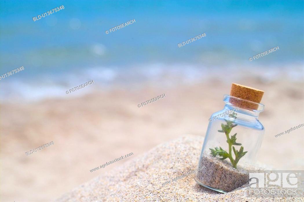 Stock Photo: scenery, glassbottle, sea, sand, beach, landscape, bottle.