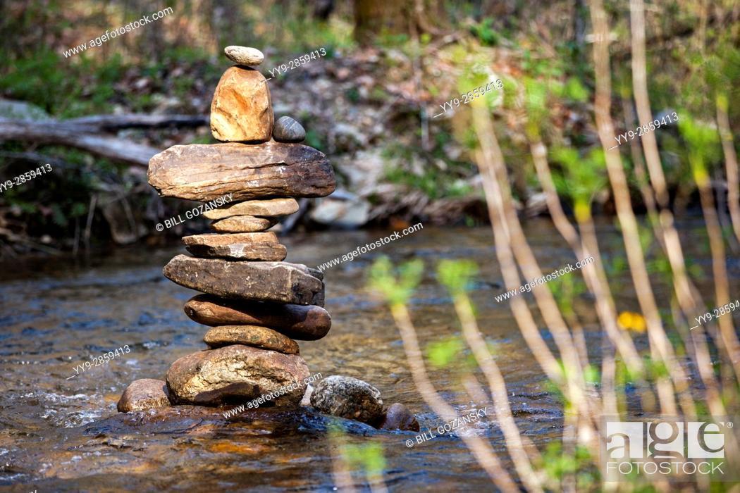 Stock Photo: River Rock Cairn - Pisgah National Forest, near Brevard, North Carolina, USA.