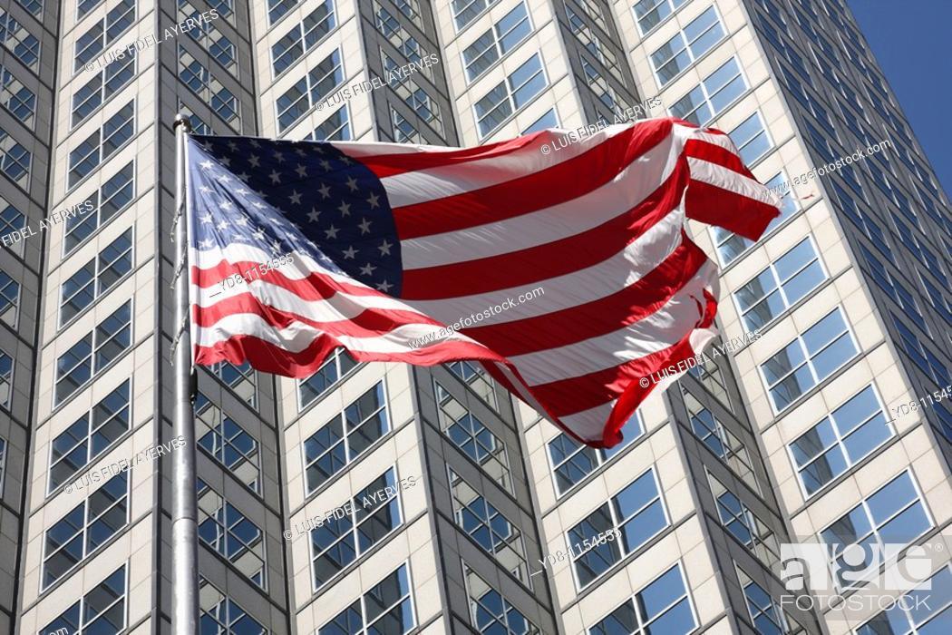Stock Photo: US flag, Miami, Florida, USA.