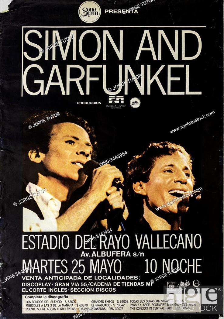 Stock Photo: Simon and Garfunkel, Madrid Rayo Vallecano 1982 tour, Musical concert poster.