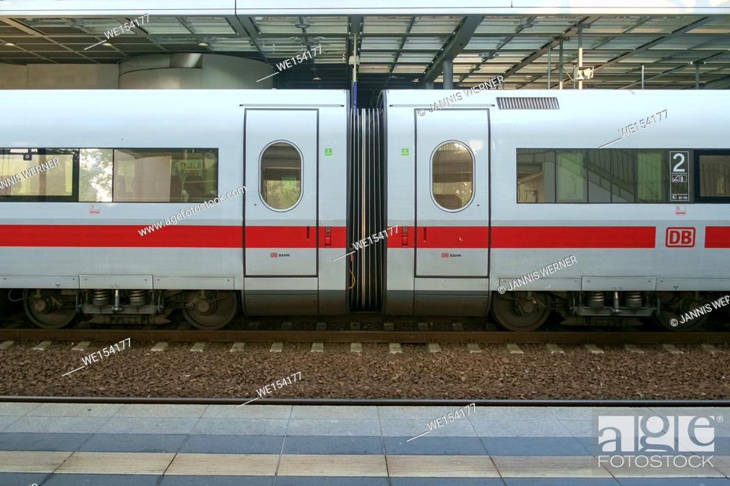 Stock Photo: BERLIN, GERMANY - SEPTEMBER 2016: Junction between to InterCity Express train cars at a station in Berlin, Germany in September 2016.