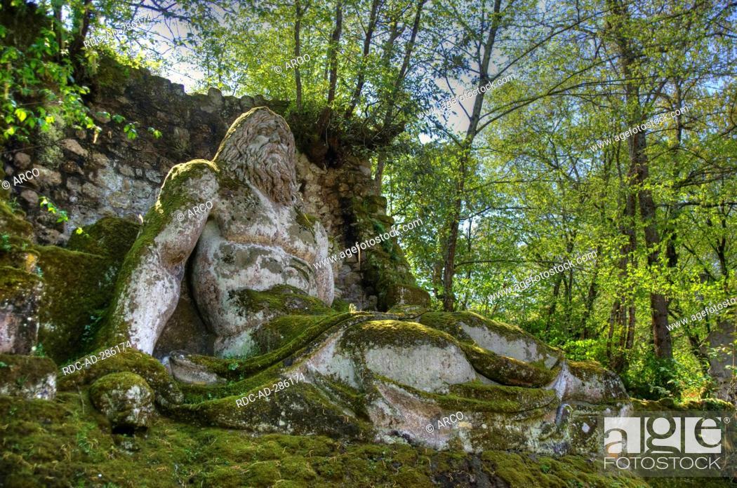 Neptune statue, Park Sacro Bosco, Bomarzo, Lazio, Italy / Parco dei ...