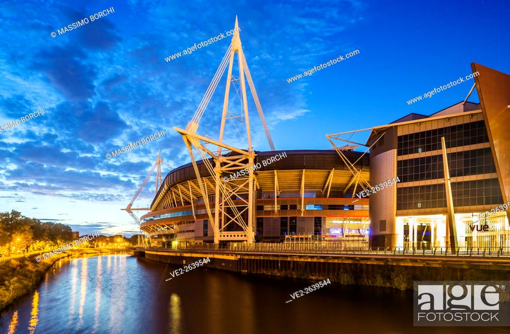 Stock Photo: Millennium Stadium and the river Taff, Cardiff City Centre, Cardiff, Wales, UK.