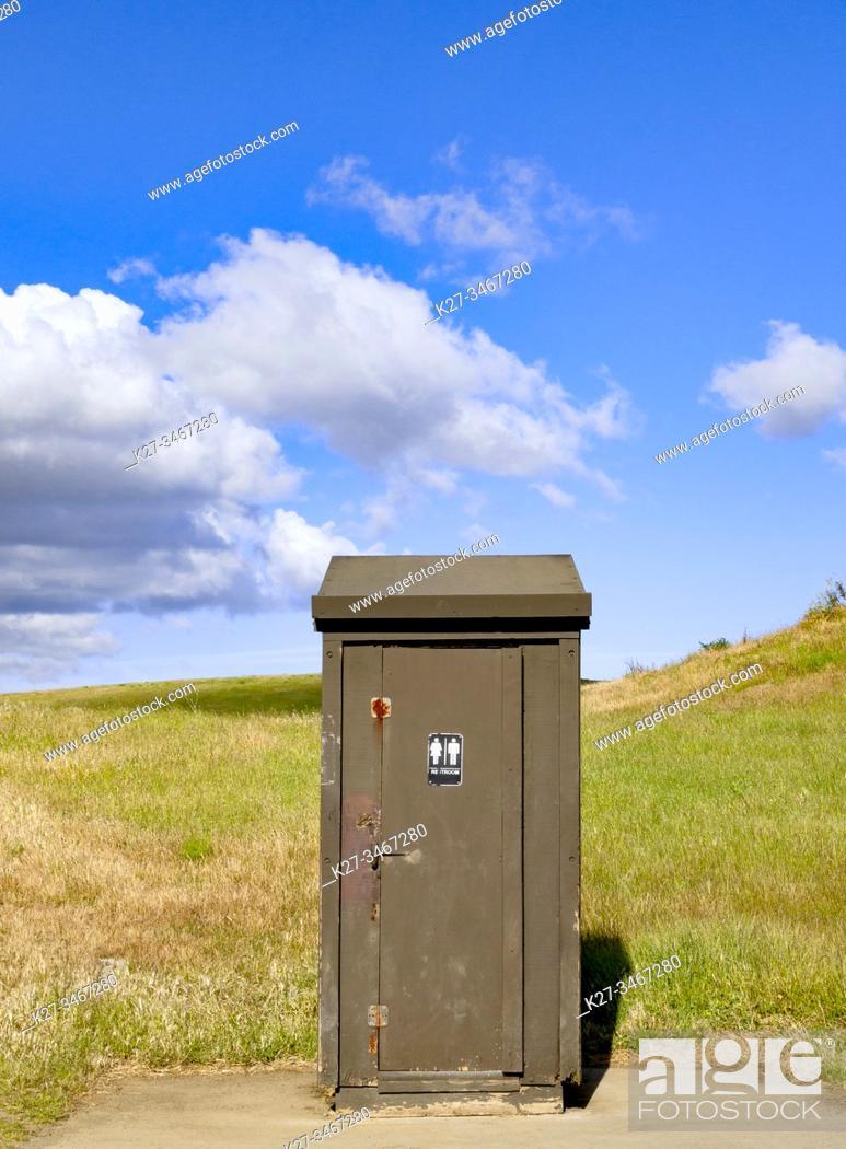 Stock Photo: Outhouse toilet, Northern California, USA.