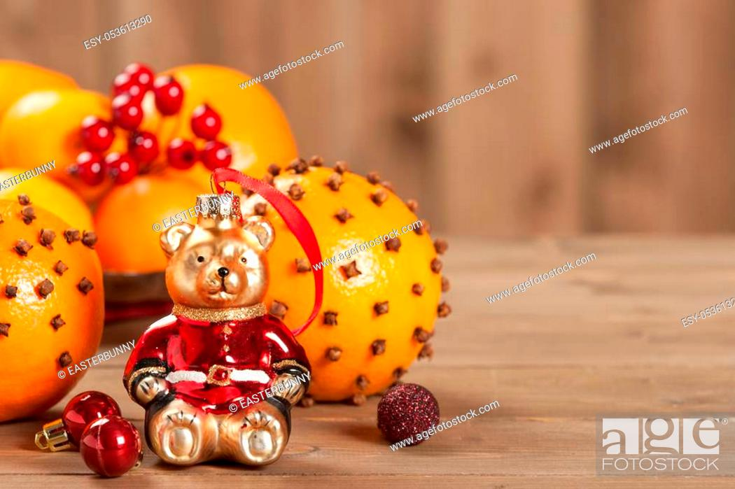 Stock Photo: Pomander Oranges With Clove And Spices. Christmas Tree Bear Toy.