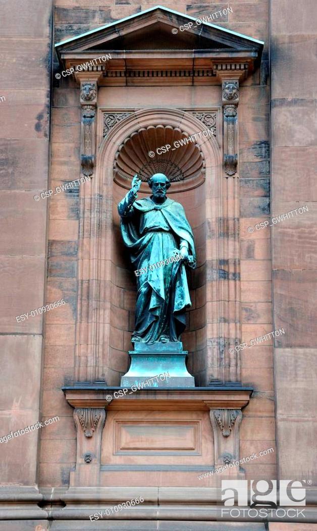Stock Photo: Saint Paul Statue outside historic Saint Peter and Paul Basilica in Philadelphia, Pennsylvania.