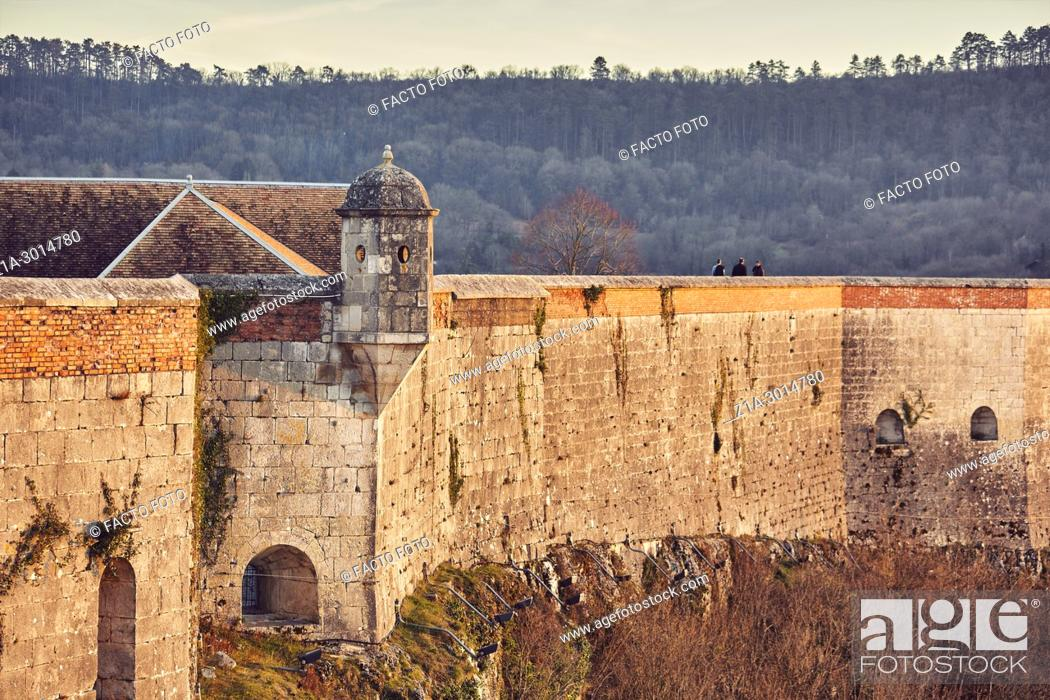 Stock Photo: Rampart walk of the Citadel of Besançon, a 17th-century fortress designed by Vauban for Louis XIV. UNESCO World Heritage Site. Besançon. Doubs.