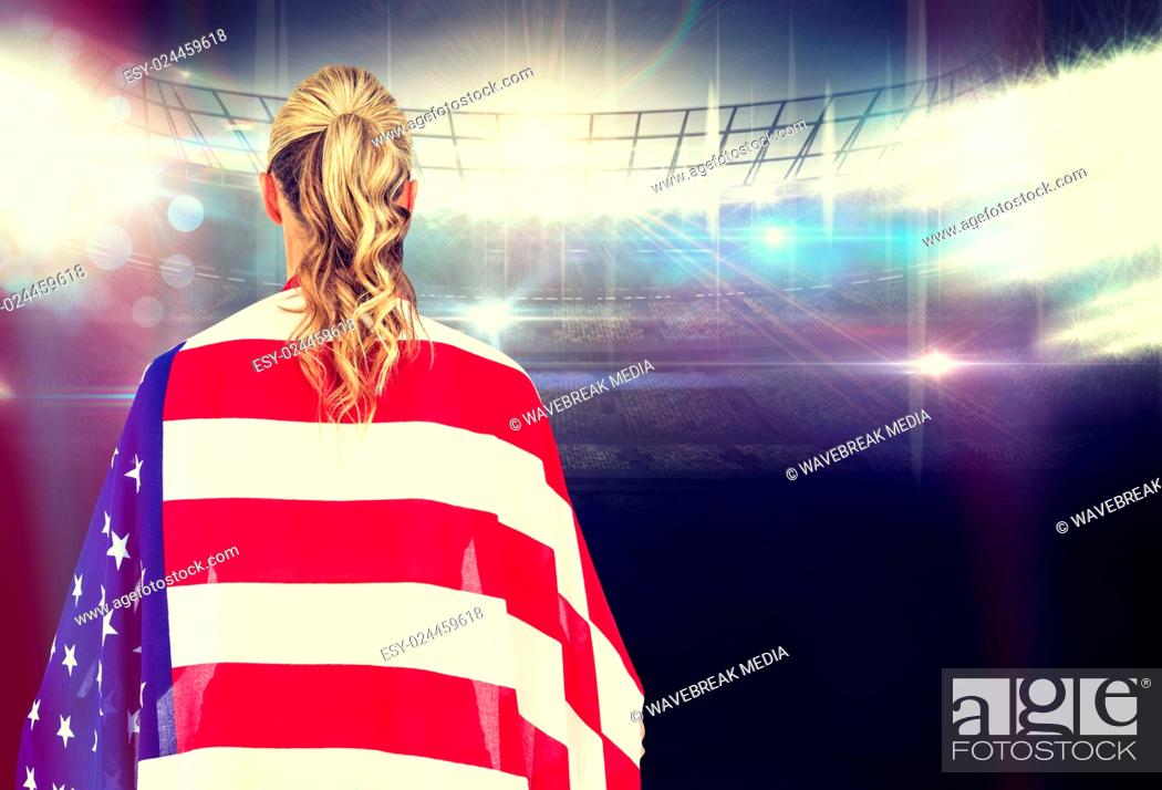 Imagen: Composite image of athlete with american flag wrapped around his body.