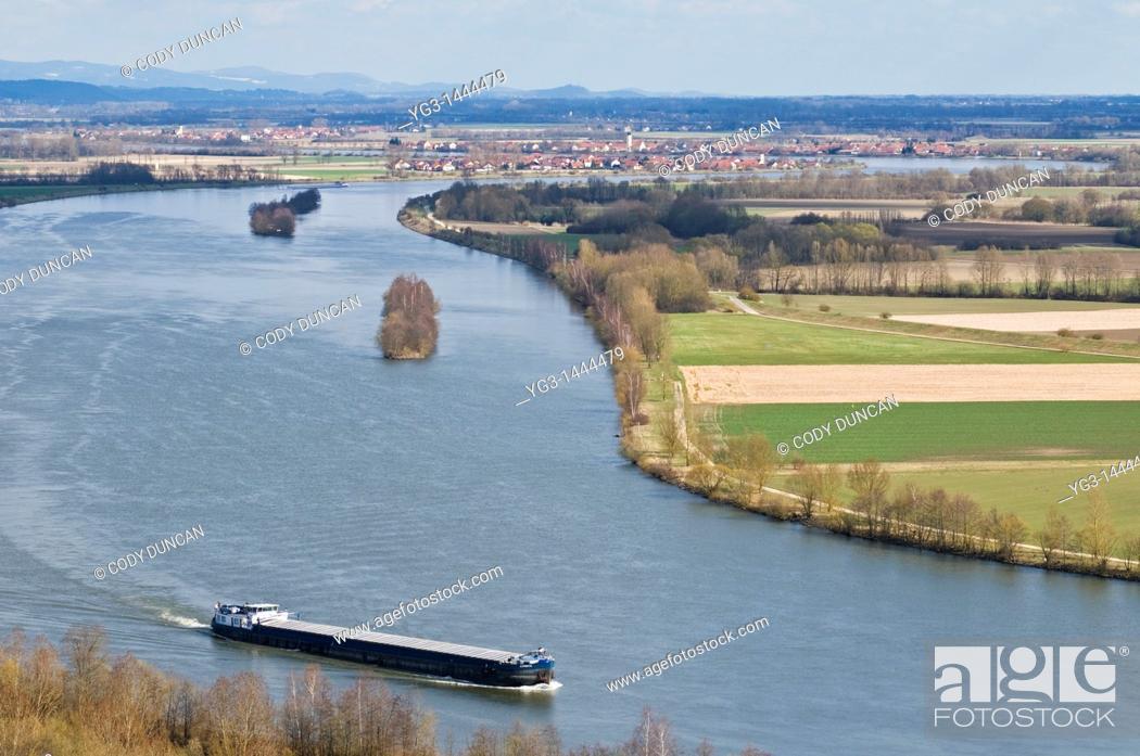 Stock Photo: Romanian cargo ship travels north on the Danube river near Regensburg, Germany.