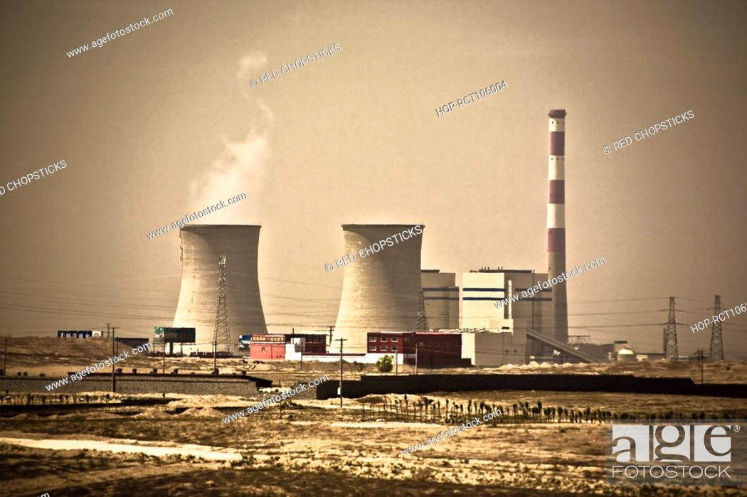 Stock Photo: Cooling towers of a nuclear power station, Inner Mongolia, China.