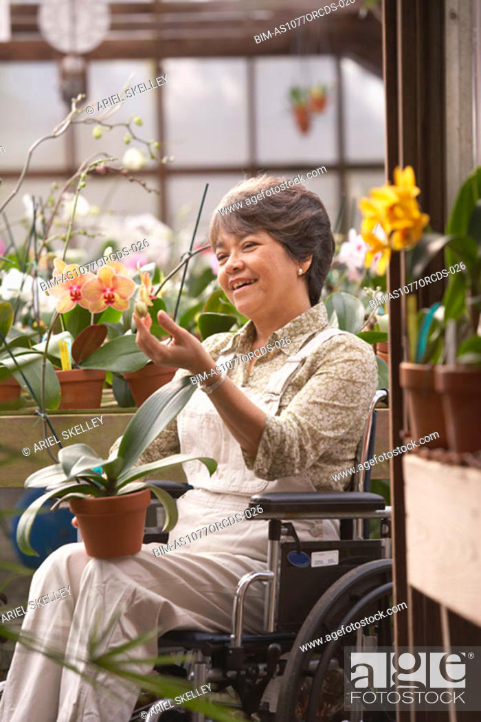 Stock Photo: Senior Asian woman in wheelchair in greenhouse.