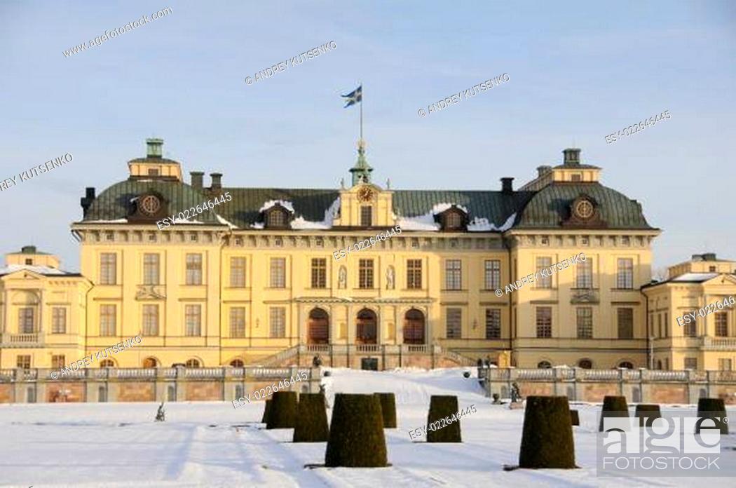 Stock Photo: Drottningholms slott (royal palace) outside of Stockholm, Sweden.